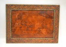ENGRAVED WOOD PANEL OF FIGURES BEFORE KING