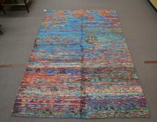HAND KNOTTED BLUE & RED SILK SARI -  6' 5