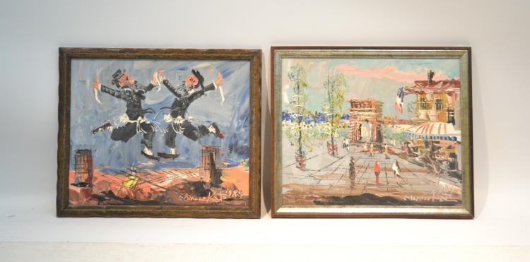 2 morris katz oil on board of dancing rabbis for Katz fine art