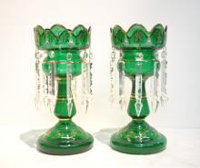 (Pr) GREEN BOHEMIAN GLASS LUSTRES