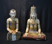 (Pr) CARVED WOOD SEATED ASIAN FIGURES