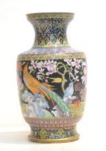 LARGE CLOISONNE VASE WITH BIRDS & FLOWERS