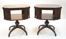 (Pr) MAHOGANY LEATHER TOP SIDE TABLES BY MILANO