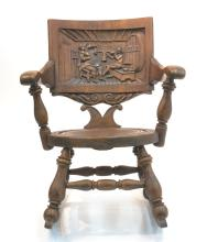 HAND CARVED ROCKING CHAIR WITH FIGURAL SCENE