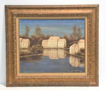 OIL ON CANVAS REFLECTIONS OF VILLAGE ON LAKE