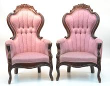 (Pr) FLORAL CARVED VICTORIAN STYLE ARM CHAIRS