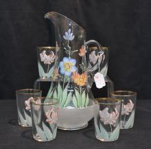HAND PAINTED LEMONADE PITCHER WITH (6) GLASSES