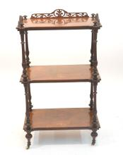 3-TIER INLAID STAND WITH RETICULATED GALLERY