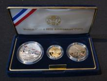 WWII 50th ANNIVERSARY (3) COIN PROOF SET INC-