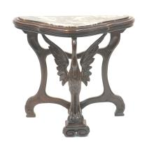 CARVED MARBLE TOP DEMILUNE TABLE WITH