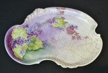 HAND PAINTED ASYMETRICAL LIMOGES TRAY WITH
