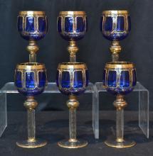 (6) MOSER COBALT & GOLD WINE GLASSES ; MARKED