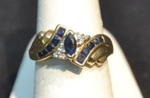14kt SAPPHIRE RING - SIZE 7 1/5