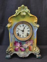 HAND PAINTED ROYAL BONN CLOCK WITH IRIS