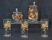 (2) ENAMELED STEINS & (3) GLASSES WITH MONKS