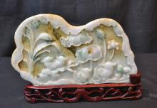 CARVED JADE PLACQUE ON STAND - 9