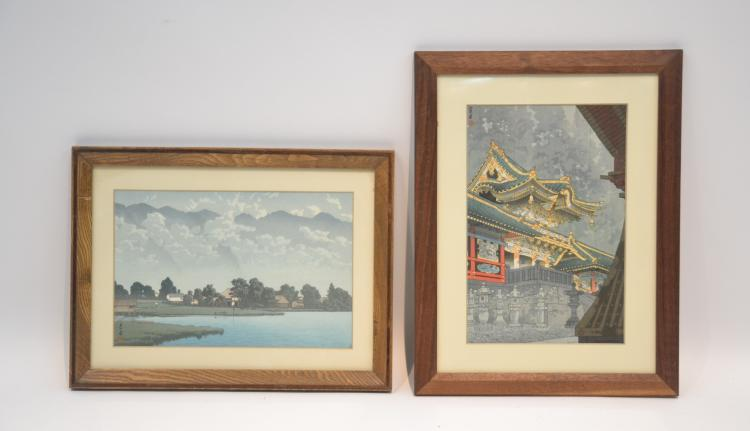 (2) JAPANESE WOOD BLOCK PRINTS  BY KASAMATSU SHIRO