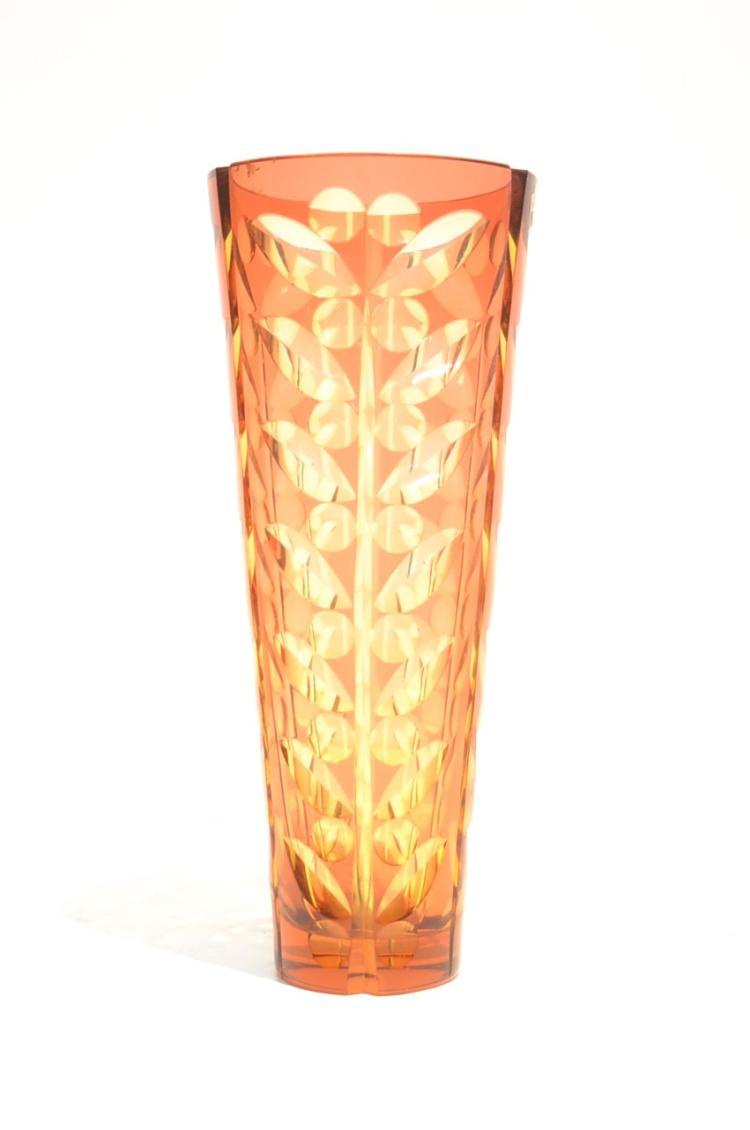 Amber cut glass bohemian vase 6 x 15 for Jardin glass vases 7 in