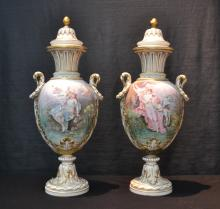 (Pr) SEVRES COVERED URNS WITH WOMAN & CHERUB