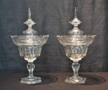 (Pr) BOHEMIAN CUT GLASS COVERED TAZZA