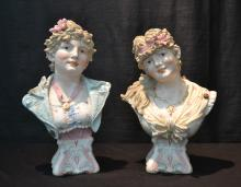 (Pr) PAINTED BISQUE BUSTS OF WOMEN , SIGNED