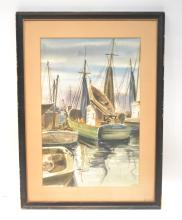 WATERCOLOR OF SHIPS AT DOCK IN GLOUCESTER , MASS