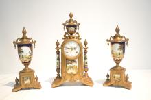 (3)pc FRANZ HERMLE GILT METAL CLOCK SET WITH