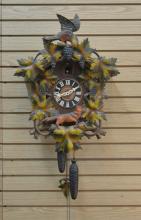 GERMAN CUKOO CLOCK WITH BIRD & FOX CARVINGS