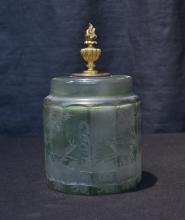 ETCHED GREEN BOHEMIAN TOBACCO JAR WITH