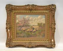 OIL ON CANVAS SHEEP IN PASTURE ; SIGNED