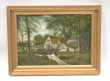 19thC OIL ON CANVAS OF HOUSE & WATER WHEEL