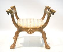 ANTIQUE CARVED GILT BENCH WITH LION HEADS &