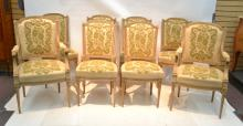 (8) LXVI STYLE 2-TONE GILT DINING ROOM CHAIRS
