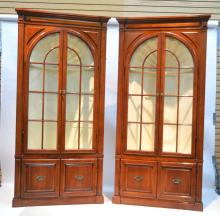 (Pr) CHERRY CORNER CABINETS WITH CARVED