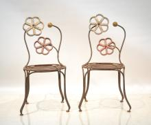 (Pr) DECO IRON CHAIRS WITH FLOWERS