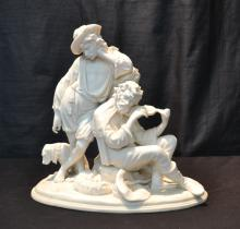 BISQUE PORCELAIN GROUPING OF MEN WITH DOG