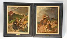 (2) 19thC OIL ON CANVAS MONKS WITH HORSE & WAGON