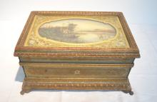 LARGE GILT DRESSER BOX WITH HAND PAINTED SCENIC