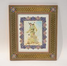 FRAMED PERSIAN PAINTING OF MAN & WOMAN