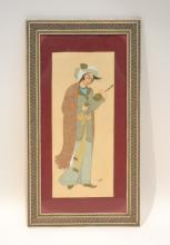 FRAMED PERSIAN PAINTING OF WOMAN ; ARTIST SIGNED