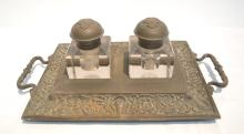 B & H BRONZE INKWELL WITH GLASS BOTTLES