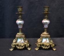 (Pr) GILT METAL CANDLESTICKS WITH HAND PAINTED