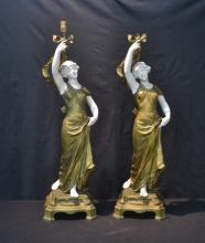 (Pr) LARGE WHITE METAL & PARIAN FIGURAL LAMPS