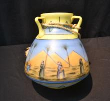 HAND PAINTED MIDDLE EASTERN MOTIF GLASS LANTERN