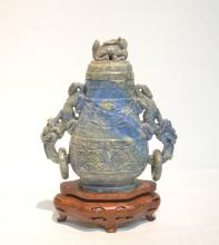 CARVED LAPIS LAZULI COVERED URN WITH DRAGON