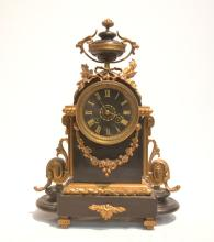 BREVETE FRENCH MARBLE & BRONZE MANTLE CLOCK
