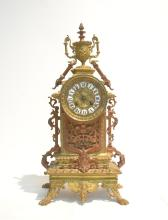 2-TONE BRONZE MANTLE CLOCK WITH URN FORM