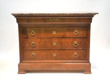 FRENCH EMPIRE MARBLE TOP 5-DRAWER DRESSER