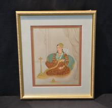 HAND PAINTED PERSIAN PAINTING OF SEATED WOMAN