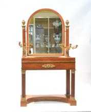 BURLED FRENCH EMPIRE MARBLE TOP VANITY